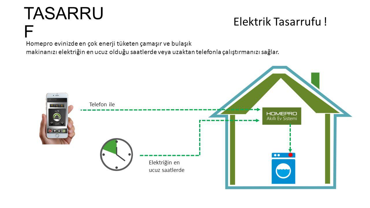 TASARRU F Homepro evinizde en çok enerji tüketen çamaşır ve bulaşık makinanızı elektriğin en ucuz olduğu saatlerde veya uzaktan telefonla çalıştırmanızı sağlar.