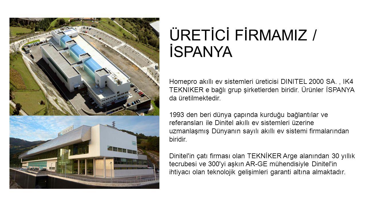 ÜRETİCİ FİRMAMIZ / İSPANYA Homepro akıllı ev sistemleri üreticisi DINITEL 2000 SA., IK4 TEKNIKER e bağlı grup şirketlerden biridir.