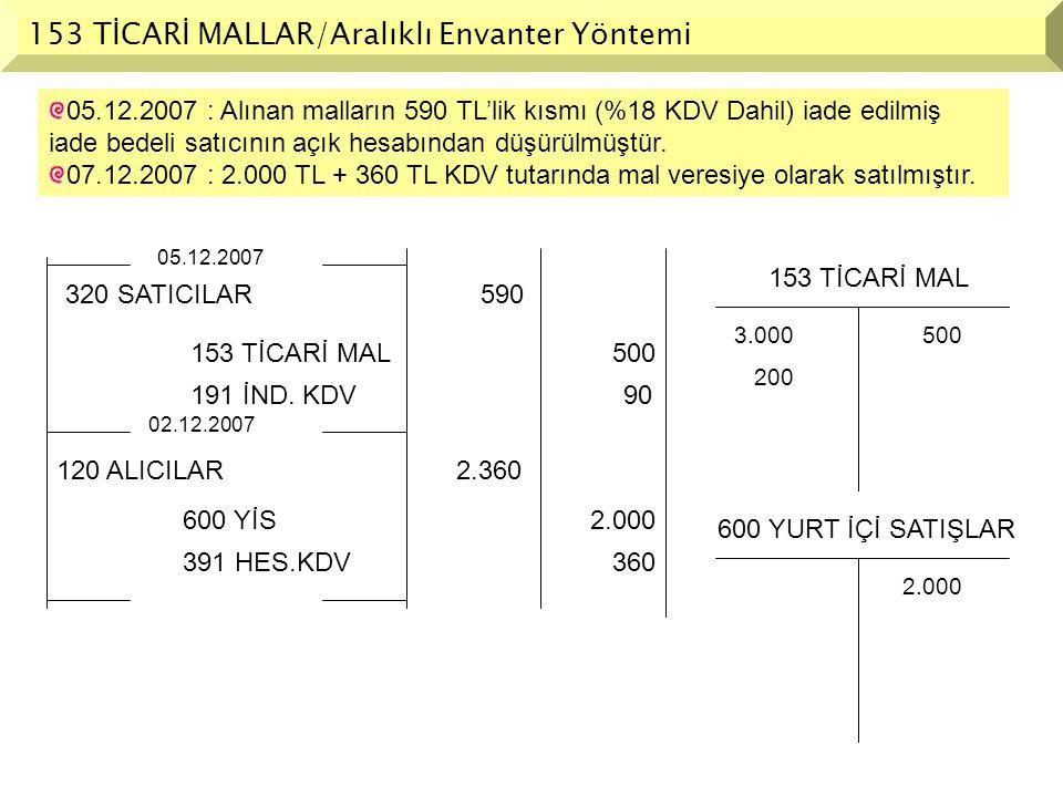 153 TİCARİ MALLAR/Aralıklı Envanter Yöntemi 05.12.2007 : Alınan malların 590 TL'lik kısmı (%18 KDV Dahil) iade edilmiş iade bedeli satıcının açık hesa