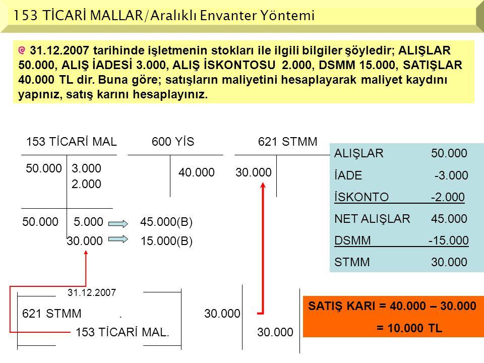 ALIŞLAR50.000 İADE -3.000 İSKONTO-2.000 NET ALIŞLAR45.000 DSMM -15.000 STMM30.000 31.12.2007 tarihinde işletmenin stokları ile ilgili bilgiler şöyledi