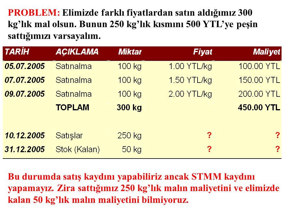 PROBLEM: Elimizde farklı fiyatlardan satın aldığımız 300 kg'lık mal olsun. Bunun 250 kg'lık kısmını 500 YTL'ye peşin sattığımızı varsayalım. Bu durumd