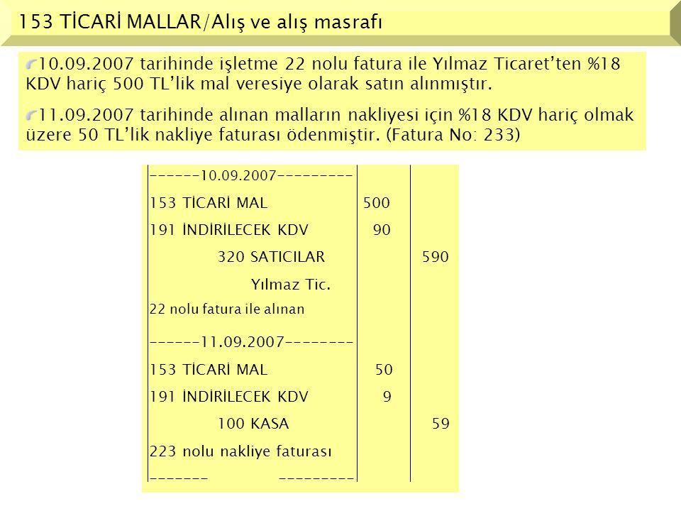 153 TİCARİ MALLAR/Alış iadesi 15.09.2007 tarihinde alınan malların %18 KDV hariç 100 TL'lik kısmı istenilen özellikleri taşımadığı gerekçesiyle satıcı Yılmaz Ticaret'e iade edilmiş, iade edilen mal ve kdv tutarı satıcının cari hesabından düşürülmüştür.