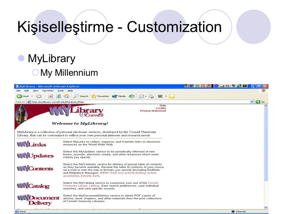 Kişiselleştirme - Customization MyLibrary  My Millennium