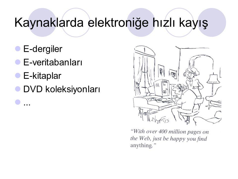 Kaynaklarda elektroniğe hızlı kayış E-dergiler E-veritabanları E-kitaplar DVD koleksiyonları...