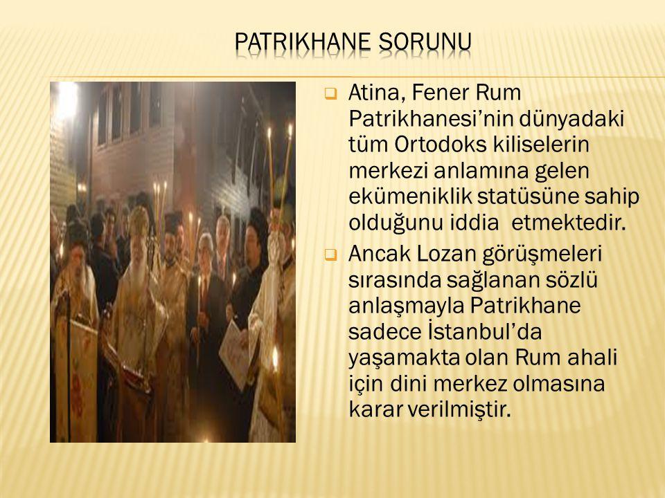 Atina, Fener Rum Patrikhanesi'nin dünyadaki tüm Ortodoks kiliselerin merkezi anlamına gelen ekümeniklik statüsüne sahip olduğunu iddia etmektedir. 