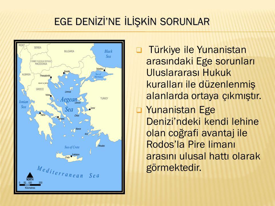EGE DENİZİ'NE İLİŞKİN SORUNLAR EGE DENİZİ'NE İLİŞKİN SORUNLAR  Türkiye ile Yunanistan arasındaki Ege sorunları Uluslararası Hukuk kuralları ile düzen