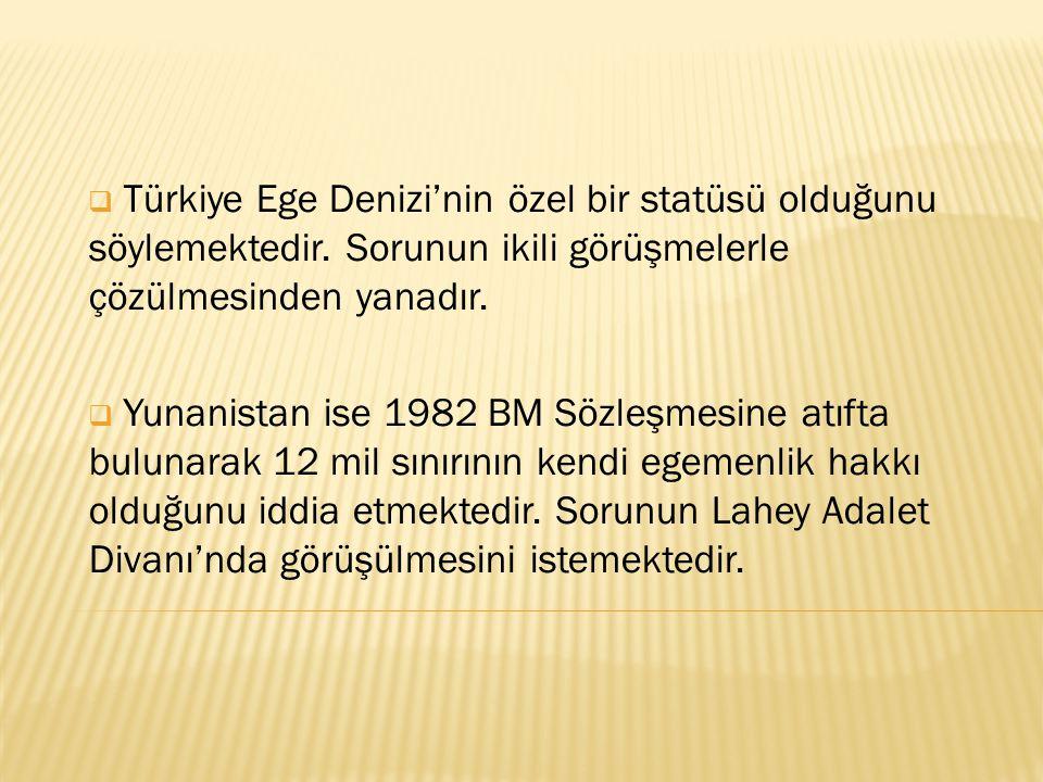  Türkiye Ege Denizi'nin özel bir statüsü olduğunu söylemektedir. Sorunun ikili görüşmelerle çözülmesinden yanadır.  Yunanistan ise 1982 BM Sözleşmes
