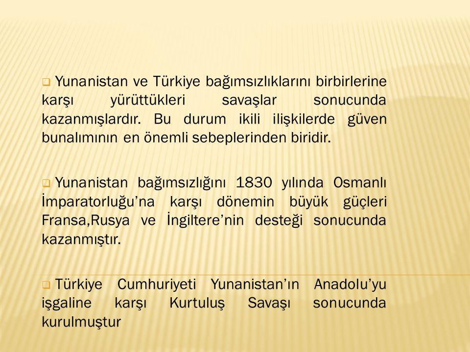  Yunanistan ve Türkiye bağımsızlıklarını birbirlerine karşı yürüttükleri savaşlar sonucunda kazanmışlardır. Bu durum ikili ilişkilerde güven bunalımı