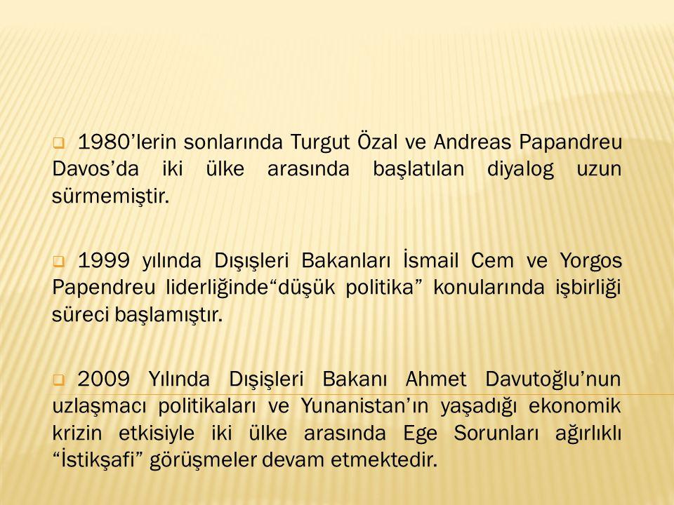  1980'lerin sonlarında Turgut Özal ve Andreas Papandreu Davos'da iki ülke arasında başlatılan diyalog uzun sürmemiştir.  1999 yılında Dışışleri Baka