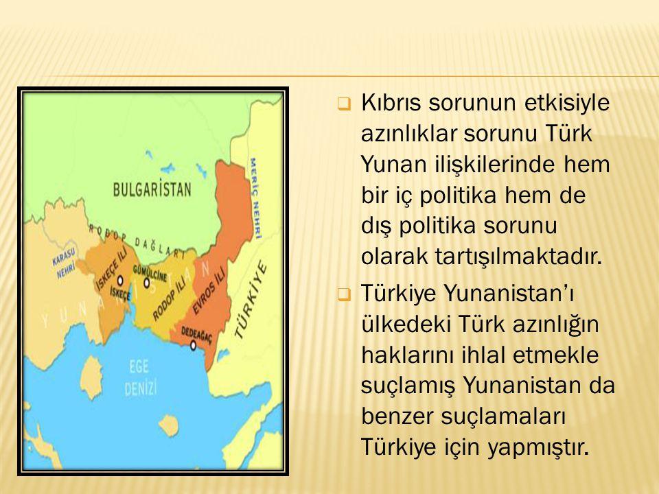  Kıbrıs sorunun etkisiyle azınlıklar sorunu Türk Yunan ilişkilerinde hem bir iç politika hem de dış politika sorunu olarak tartışılmaktadır.  Türkiy