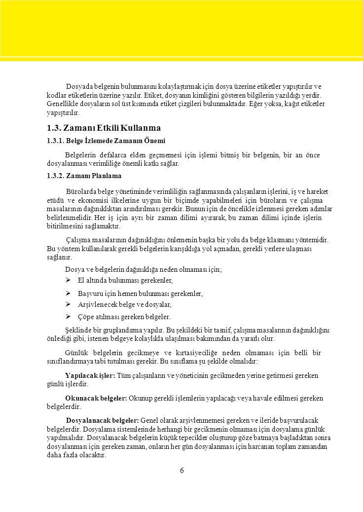 6 Dosyada belgenin bulunmasını kolaylaştırmak için dosya üzerine etiketler yapıştırılır ve kodlar etiketlerin üzerine yazılır. Etiket, dosyanın kimliğ