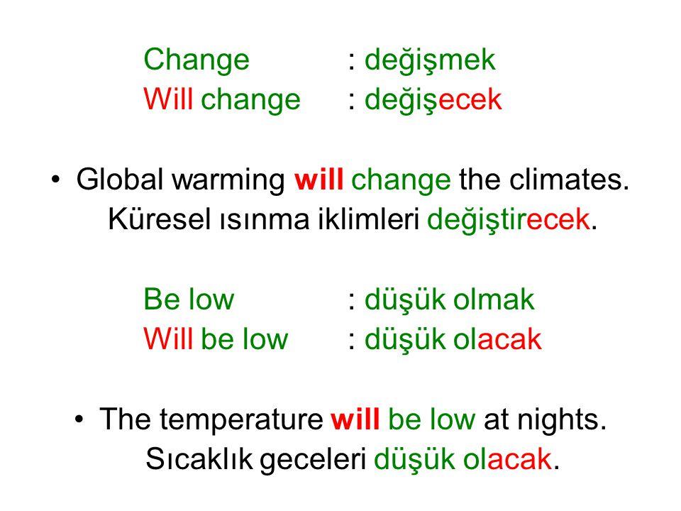 Change: değişmek Will change: değişecek Global warming will change the climates. Küresel ısınma iklimleri değiştirecek. Be low: düşük olmak Will be lo
