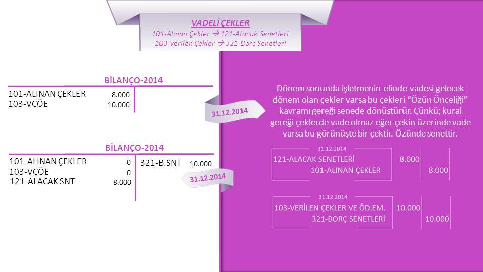 """BİLANÇO-2014 101-ALINAN ÇEKLER 8.000 31.12.2014 Dönem sonunda işletmenin elinde vadesi gelecek dönem olan çekler varsa bu çekleri """"Özün Önceliği"""" kavr"""
