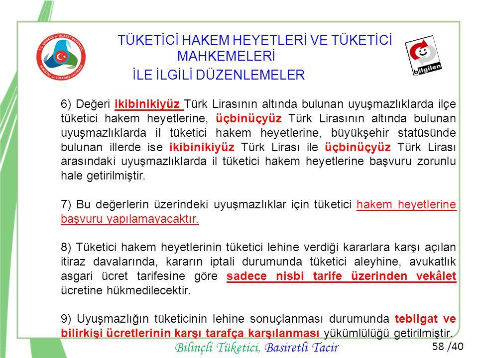 58 /40 Bilinçli Tüketici, Basiretli Tacir 6) Değeri ikibinikiyüz Türk Lirasının altında bulunan uyuşmazlıklarda ilçe tüketici hakem heyetlerine, üçbin
