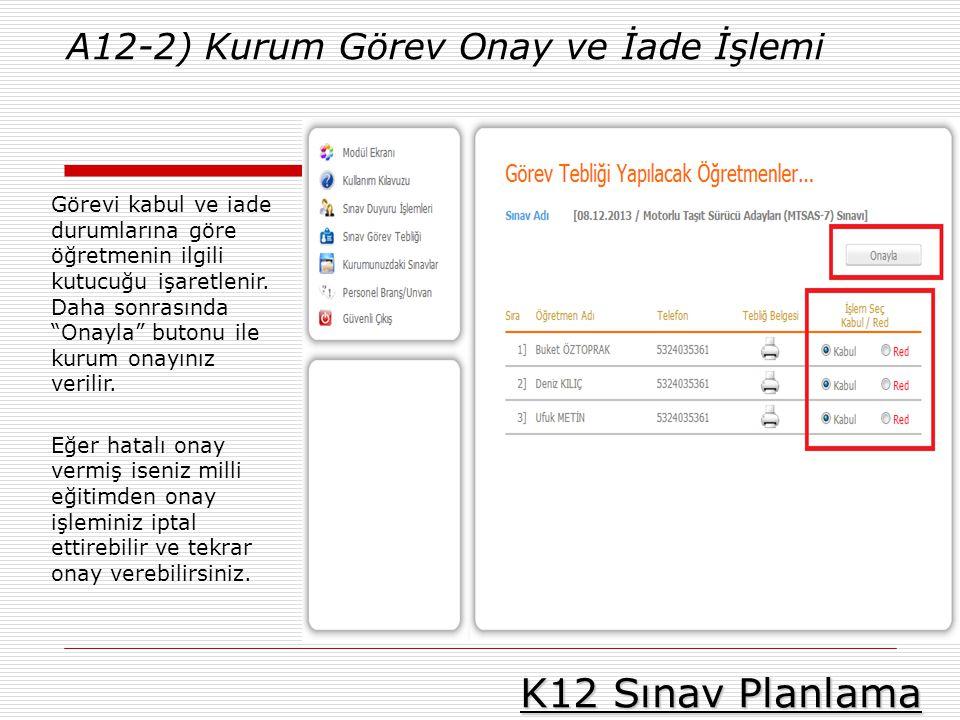 K12 Sınav Planlama A12-2) Kurum Görev Onay ve İade İşlemi Görevi kabul ve iade durumlarına göre öğretmenin ilgili kutucuğu işaretlenir. Daha sonrasınd