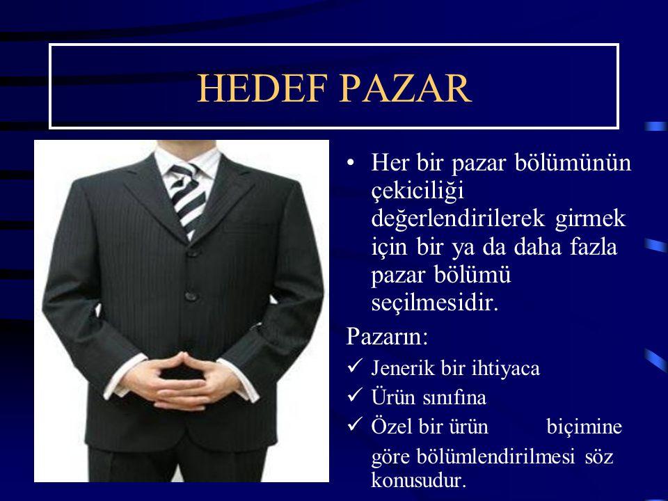 HEDEF PAZAR Her bir pazar bölümünün çekiciliği değerlendirilerek girmek için bir ya da daha fazla pazar bölümü seçilmesidir. Pazarın: Jenerik bir ihti