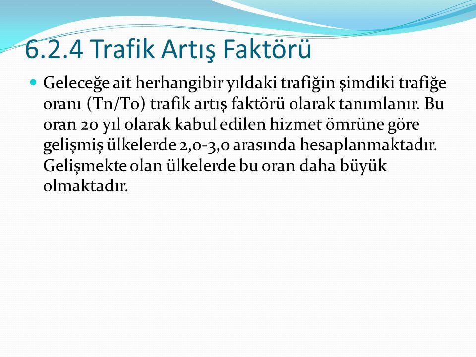 6.2.4 Trafik Artış Faktörü Geleceğe ait herhangibir yıldaki trafiğin şimdiki trafiğe oranı (Tn/T0) trafik artış faktörü olarak tanımlanır. Bu oran 20