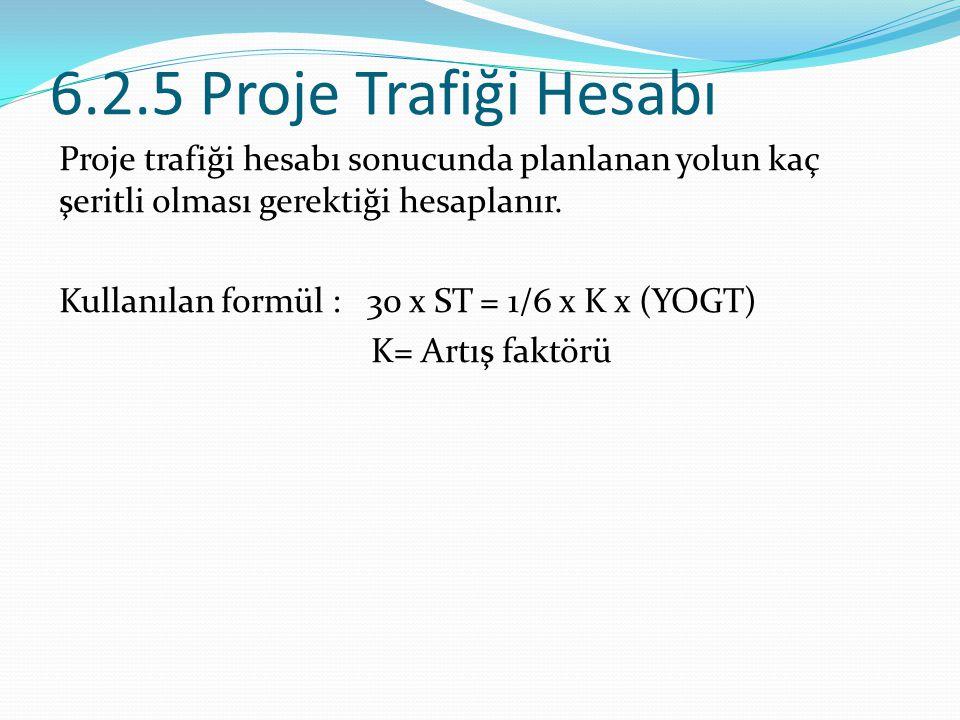 6.2.5 Proje Trafiği Hesabı Proje trafiği hesabı sonucunda planlanan yolun kaç şeritli olması gerektiği hesaplanır. Kullanılan formül : 30 x ST = 1/6 x