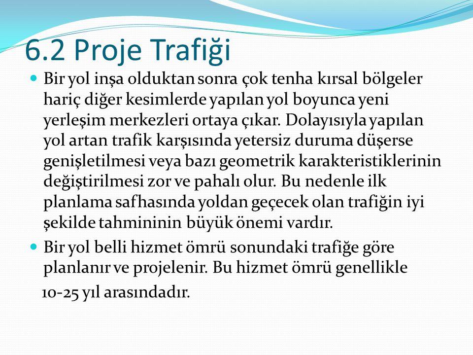 6.2.1 Yıllık Ortalama Günlük Trafik Bir yolun projelendirilmesi sırasında esas alınabilecek çeşitli trafik değerleri vardır.