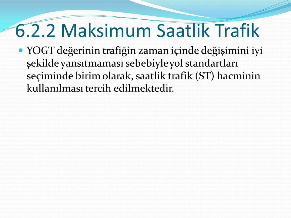 6.2.2 Maksimum Saatlik Trafik YOGT değerinin trafiğin zaman içinde değişimini iyi şekilde yansıtmaması sebebiyle yol standartları seçiminde birim olar