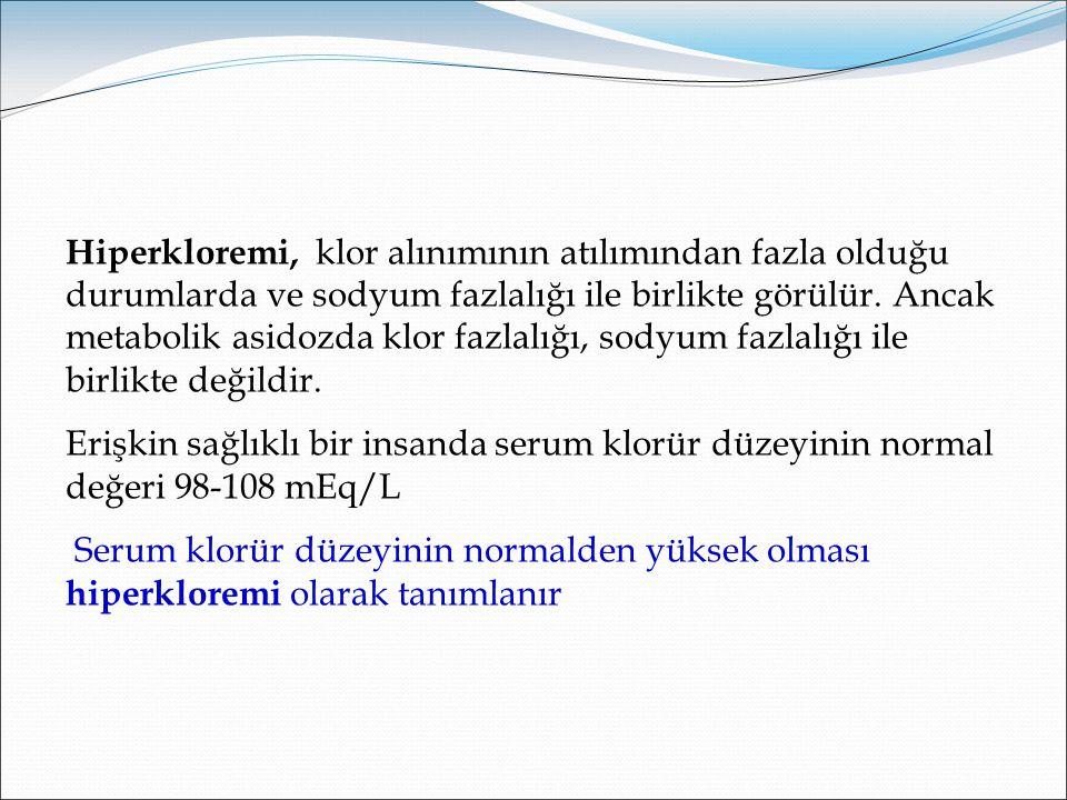 Hiperkloremi Serum klorür düzeyinin normalden yüksek olması hiperkloremi olarak tanımlanır.