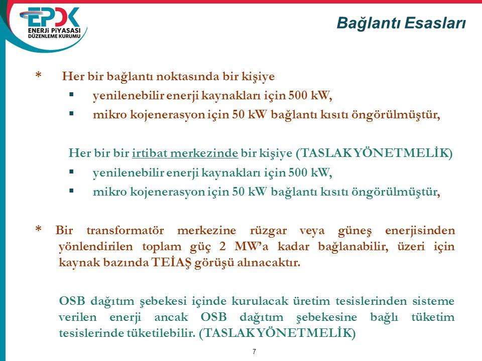 7 Bağlantı Esasları * Her bir bağlantı noktasında bir kişiye  yenilenebilir enerji kaynakları için 500 kW,  mikro kojenerasyon için 50 kW bağlantı k