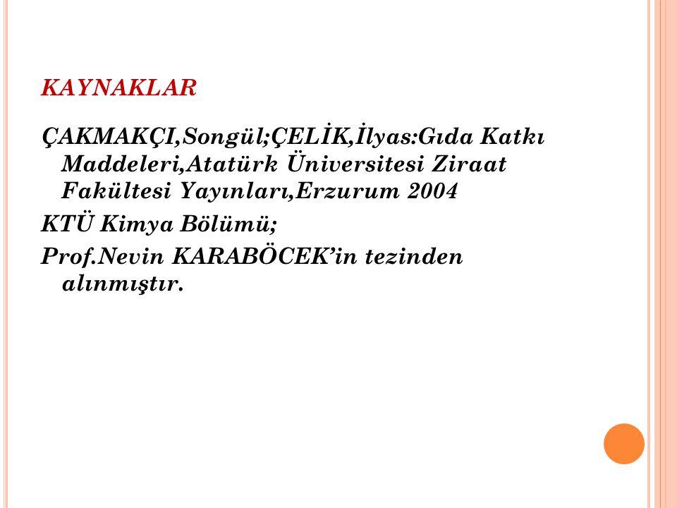KAYNAKLAR ÇAKMAKÇI,Songül;ÇELİK,İlyas:Gıda Katkı Maddeleri,Atatürk Üniversitesi Ziraat Fakültesi Yayınları,Erzurum 2004 KTÜ Kimya Bölümü; Prof.Nevin K