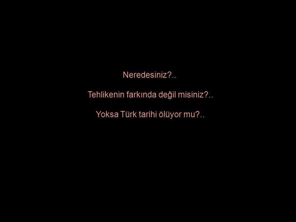 Neredesiniz?.. Tehlikenin farkında değil misiniz?.. Yoksa Türk tarihi ölüyor mu?..