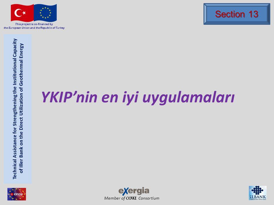 Member of Consortium This project is co-financed by the European Union and the Republic of Turkey YKIP sistemi dikey ve zig-zag düzende 5 KIE, her biri 80m derinliktedikey ve zig-zag düzende 5 KIE, her biri 80m derinlikte Mesafe 4,6mMesafe 4,6m Kuyu çapı 120mmKuyu çapı 120mm Yer: kum/kumtaşıYer: kum/kumtaşı Stüwatherm ile doldurmak Stüwatherm ile doldurmak 3 tane çiftli- U ısı eşanjörü ve 2 tane koaksiyel ısı eşanjörü3 tane çiftli- U ısı eşanjörü ve 2 tane koaksiyel ısı eşanjörü