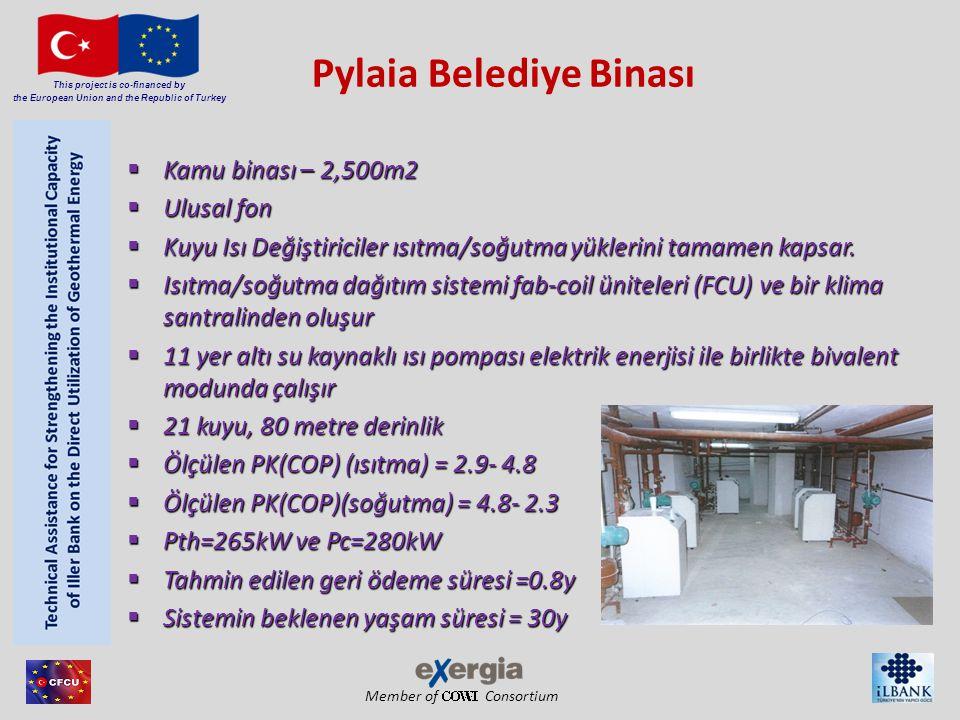 Member of Consortium This project is co-financed by the European Union and the Republic of Turkey Karakteristik Değerler, Performans Verileri Tasarım Değerleri Yıl2008 Isıtma Kapasitesi (kW)704 Soğutma Kapasitesi (kW)566 MPF(SPF) (Isıtma)4.54 SEER (Soğutma)3.65 Yıllık Isı İletimi (kWh/yıl)973 743 Yıllık Soğutma İletimi (kWh/yıl)743 724 PER (Isıtma /Soğutma) 1 60/40 Yıllık CO 2 emisyonu (kg CO 2 /yıl)323 329 1 Birincil Enerji Oranı: dağıtımı yapılmış kullanılır ısıtma(ve soğutma) enerjisi / birincil enerji girişi (kWhUE / kWhPE)