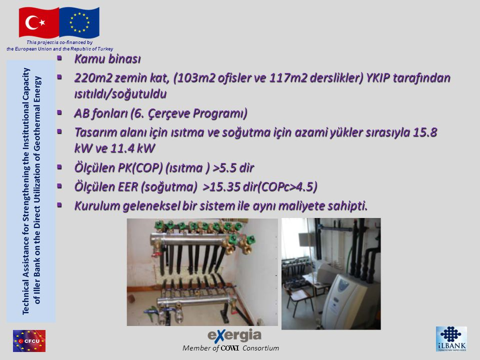 Member of Consortium This project is co-financed by the European Union and the Republic of Turkey ENERJİ TALEBİ ENERJİ FORMU ISITMA (1) SOĞUTMA (2) TOPLAM ENERJİ TALEBİ (3) ENERJİ MALİYETİ (4) PETROL 1,298,394 kWh th *01,298,394 kWh th 114,672.89 € ELEKTRİK0371,862 kWh 37,223.38 € TOPLAM1,298,394 kWh371,862 kWh1,670,256 kWh151,896.28 € BAKIM 4,000 € TOPLAM MALİYET 155,896.28 € Sonuçlar (Geleneksel Sistem) * 1kWh=2,9kWh th
