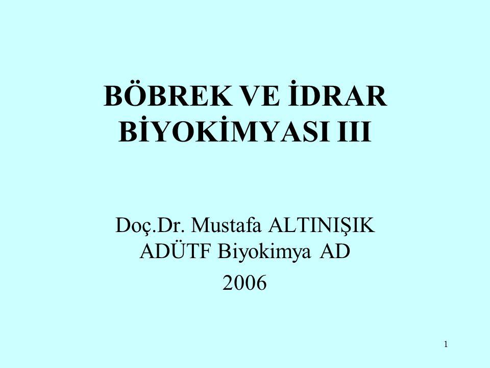 1 BÖBREK VE İDRAR BİYOKİMYASI III Doç.Dr. Mustafa ALTINIŞIK ADÜTF Biyokimya AD 2006