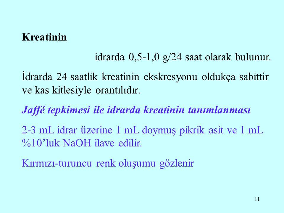 11 Kreatinin idrarda 0,5-1,0 g/24 saat olarak bulunur.