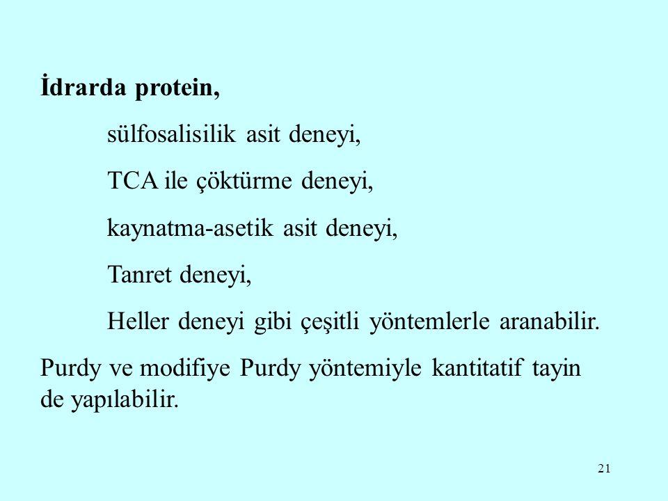 21 İdrarda protein, sülfosalisilik asit deneyi, TCA ile çöktürme deneyi, kaynatma-asetik asit deneyi, Tanret deneyi, Heller deneyi gibi çeşitli yöntemlerle aranabilir.