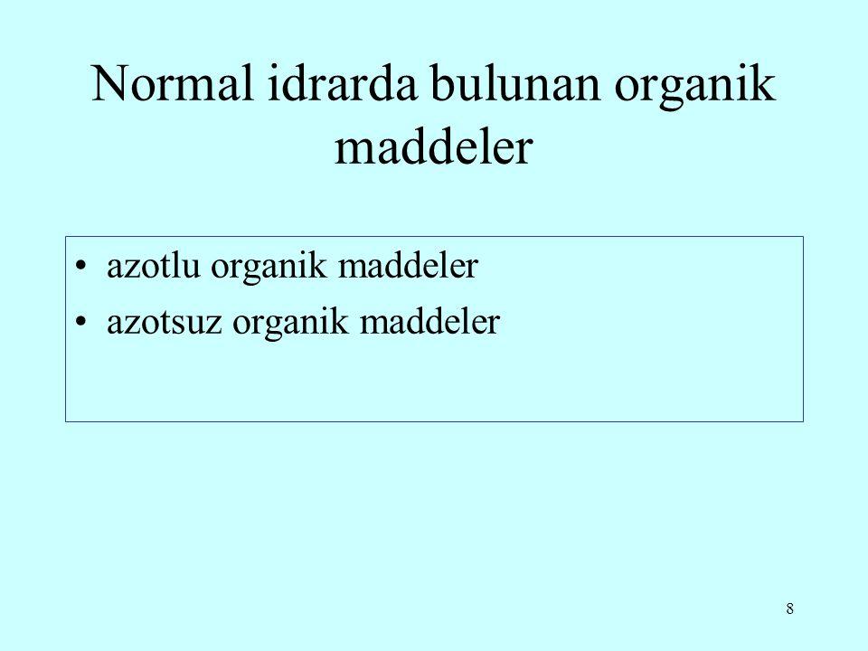 9 Normal idrarda bulunan azotlu organik maddeler üre kreatinin ürik asit kreatin hippürik asit İndikan ürobilinojen ürobilin amino asitler enzimler pürinler azotlu hormon ve vitaminler hidroksiprolin