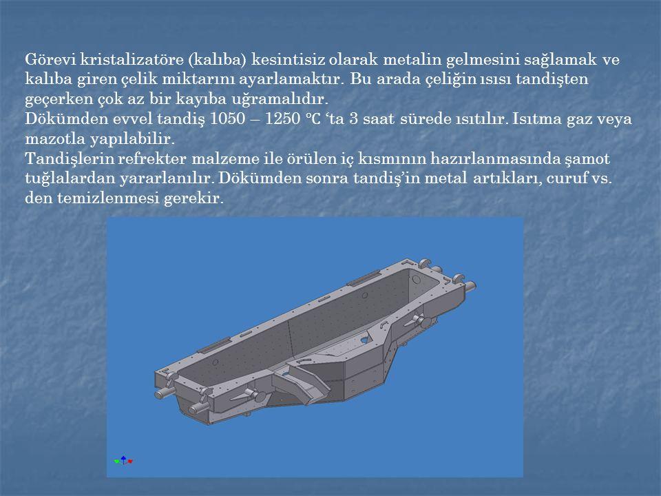 Tandişin refrakter yapısı, belli bir d ö k ü m sayısına ulaşıldığında tandiş hazırlama hol ü nde değiştirilmektedir.