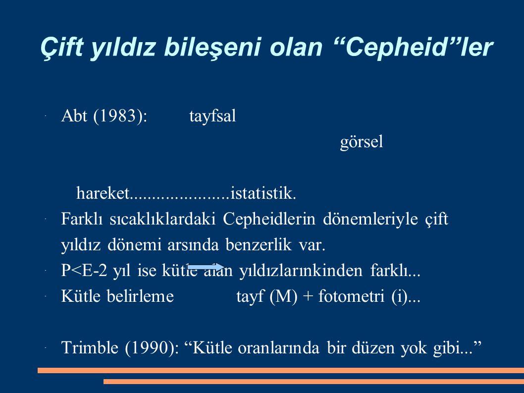 Çift yıldız bileşeni olan Cepheid ler ˙ Abt (1983): tayfsal görsel hareket......................istatistik.