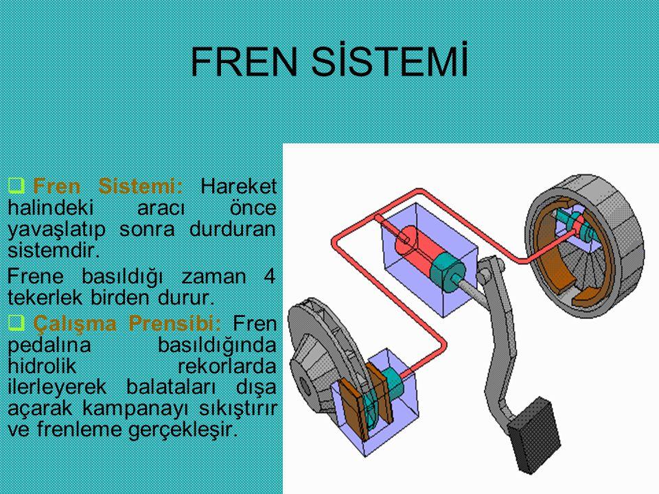 FREN SİSTEMİ  Fren Sistemi: Hareket halindeki aracı önce yavaşlatıp sonra durduran sistemdir. Frene basıldığı zaman 4 tekerlek birden durur.  Çalışm