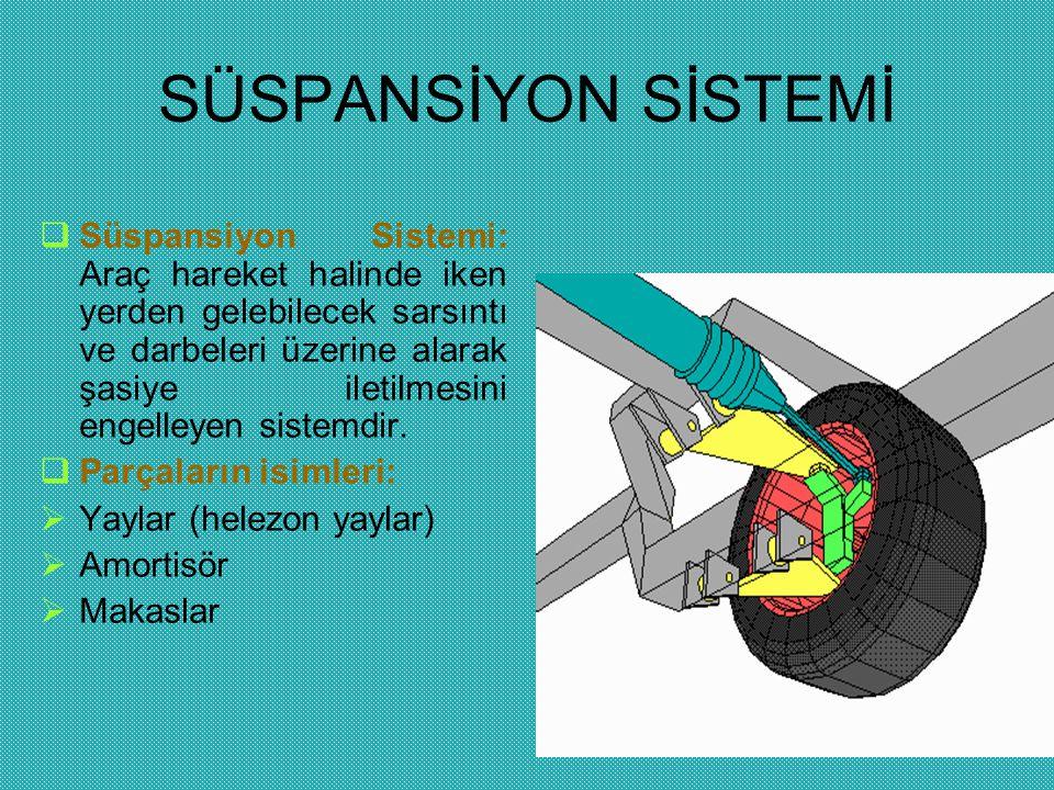 SÜSPANSİYON SİSTEMİ  Süspansiyon Sistemi: Araç hareket halinde iken yerden gelebilecek sarsıntı ve darbeleri üzerine alarak şasiye iletilmesini engel