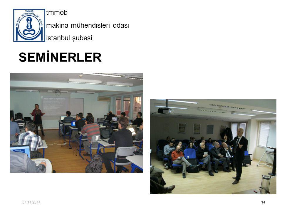 tmmob makina mühendisleri odası istanbul şubesi SEMİNERLER 14 07.11.2014