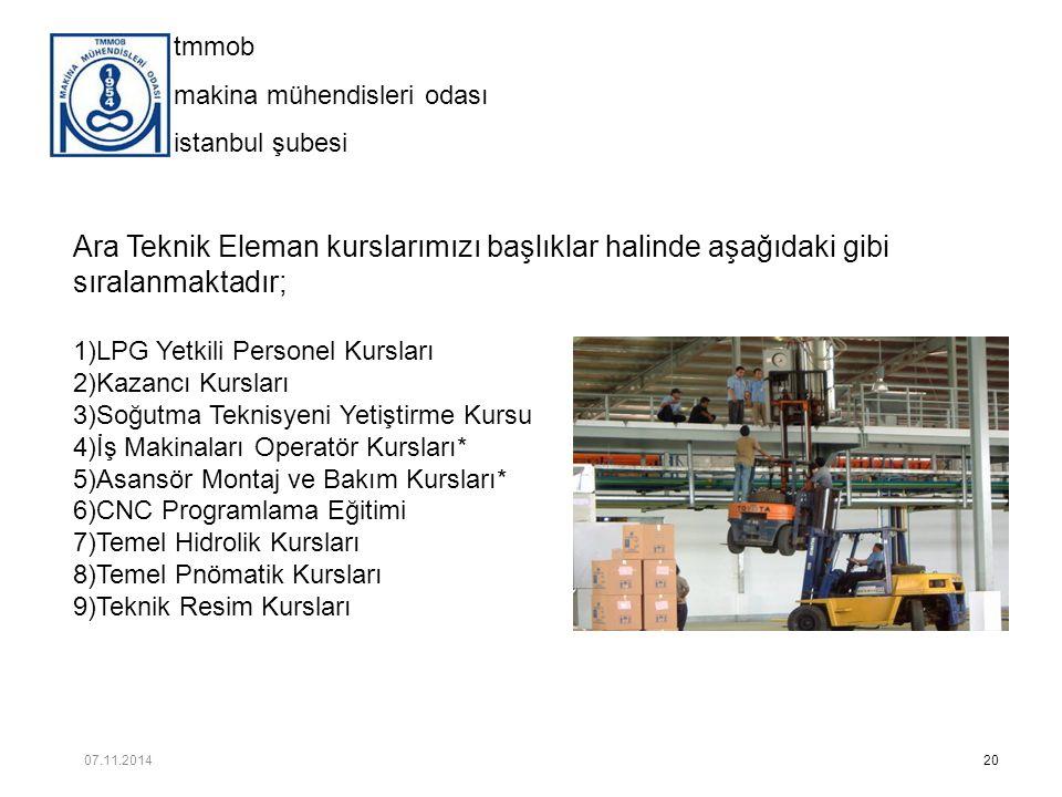 tmmob makina mühendisleri odası istanbul şubesi Ara Teknik Eleman kurslarımızı başlıklar halinde aşağıdaki gibi sıralanmaktadır; 1)LPG Yetkili Persone