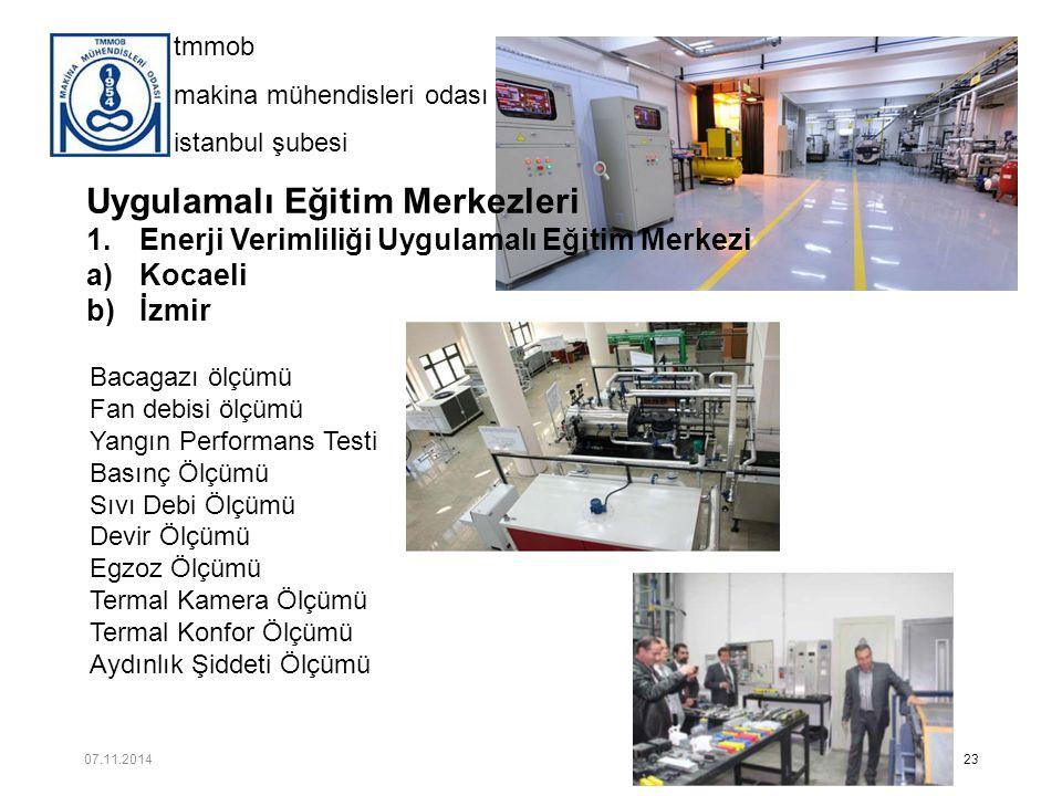 tmmob makina mühendisleri odası istanbul şubesi Uygulamalı Eğitim Merkezleri 1.Enerji Verimliliği Uygulamalı Eğitim Merkezi a)Kocaeli b)İzmir 23 Bacag