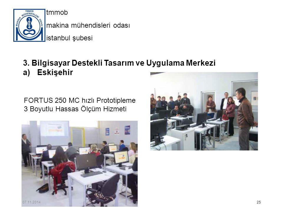 tmmob makina mühendisleri odası istanbul şubesi 3. Bilgisayar Destekli Tasarım ve Uygulama Merkezi a)Eskişehir 25 FORTUS 250 MC hızlı Prototipleme 3 B