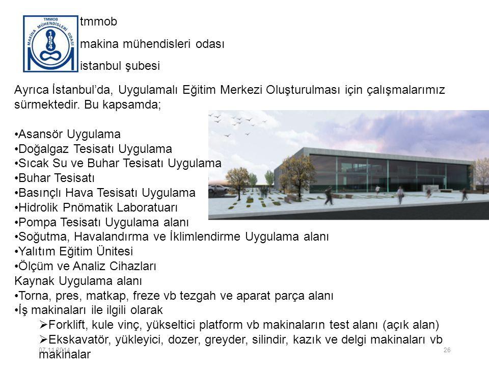 tmmob makina mühendisleri odası istanbul şubesi Ayrıca İstanbul'da, Uygulamalı Eğitim Merkezi Oluşturulması için çalışmalarımız sürmektedir. Bu kapsam