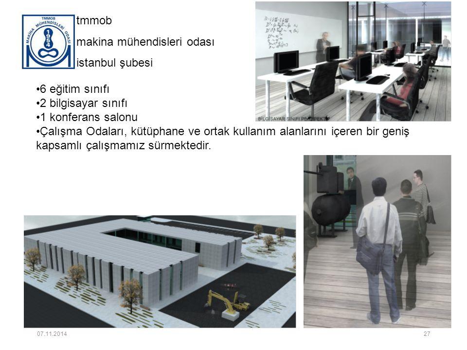 tmmob makina mühendisleri odası istanbul şubesi 6 eğitim sınıfı 2 bilgisayar sınıfı 1 konferans salonu Çalışma Odaları, kütüphane ve ortak kullanım alanlarını içeren bir geniş kapsamlı çalışmamız sürmektedir.