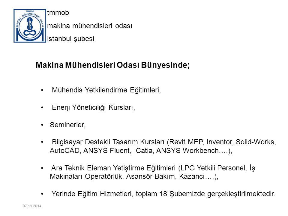 tmmob makina mühendisleri odası istanbul şubesi 16 2014 DÖNEMİ SEMİNER KATILIM ORANI 07.11.2014