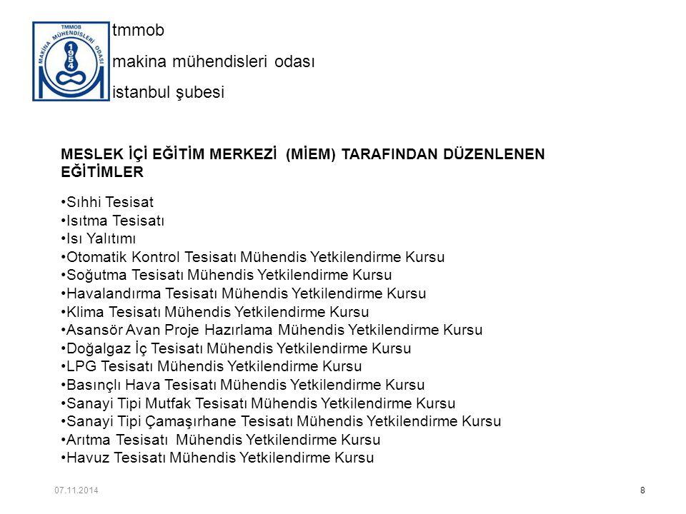 tmmob makina mühendisleri odası istanbul şubesi ARA TEKNİK ELEMAN KURSLARIMIZ 19 07.11.2014
