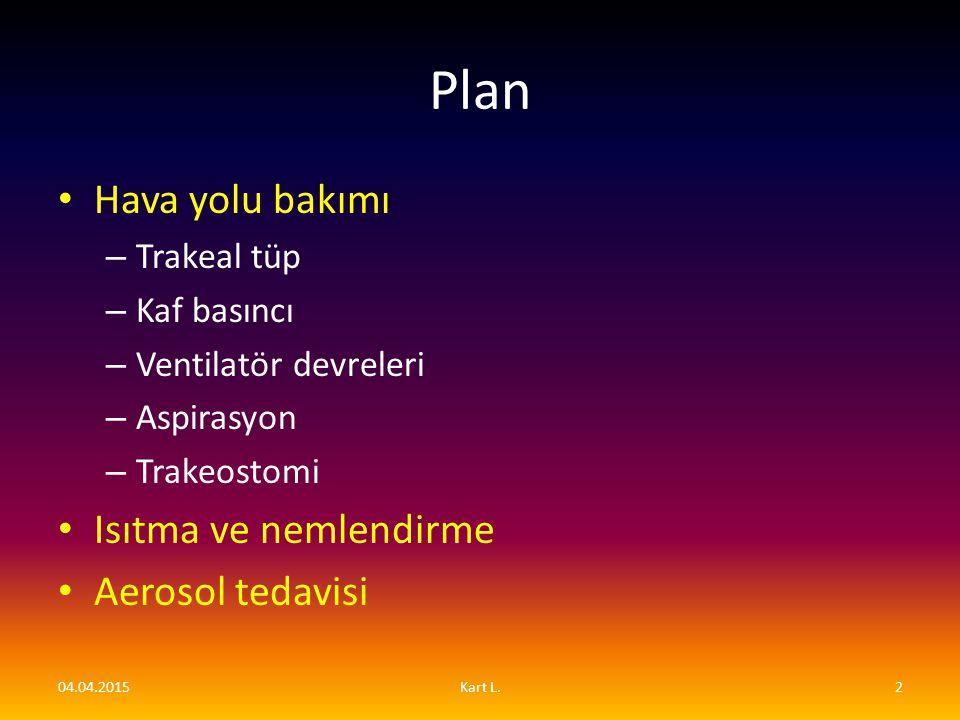 Plan Hava yolu bakımı – Trakeal tüp – Kaf basıncı – Ventilatör devreleri – Aspirasyon – Trakeostomi Isıtma ve nemlendirme Aerosol tedavisi 04.04.20152