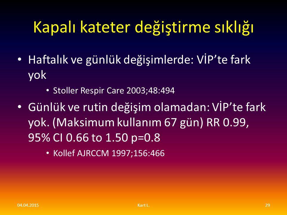Kapalı kateter değiştirme sıklığı Haftalık ve günlük değişimlerde: VİP'te fark yok Stoller Respir Care 2003;48:494 Günlük ve rutin değişim olamadan: V