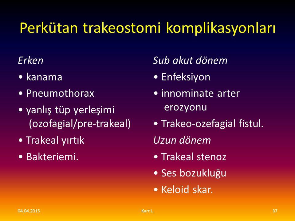 Perkütan trakeostomi komplikasyonları Erken kanama Pneumothorax yanlış tüp yerleşimi (ozofagial/pre-trakeal) Trakeal yırtık Bakteriemi. Sub akut dönem